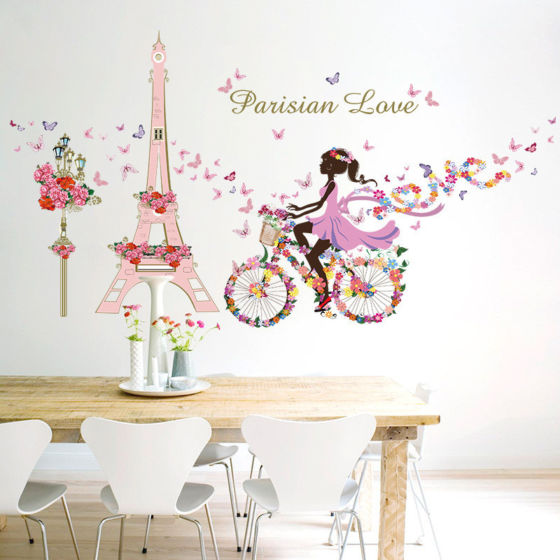 Good Romantic Paris Wall Stickers For Kids Rooms Eiffel Tower Flower Butterfly  Fairy Girl Riding Wall Decals Art Home Decor Mural In Wall Stickers From  Home ...