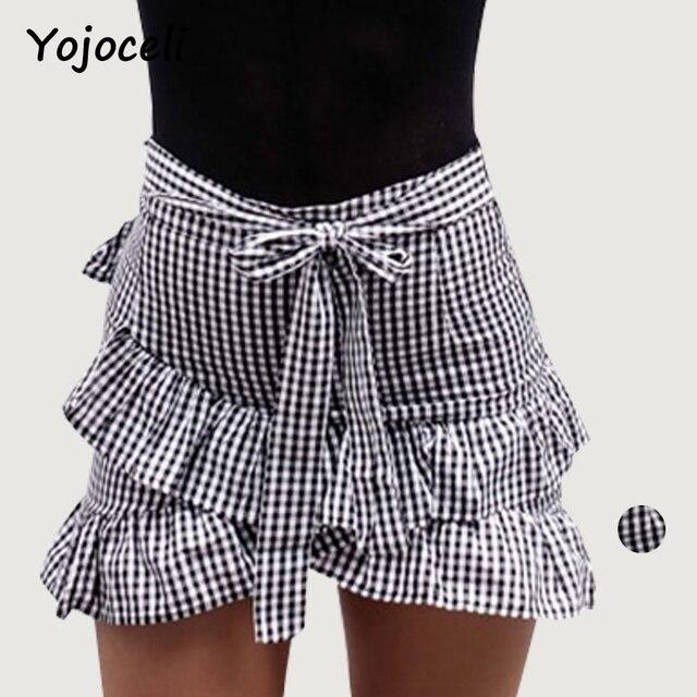 9e5b482b756 Yojoceli mode moulante jupe à volants femmes asymétrique vintage plaid mini  jupe style de rue décontracté