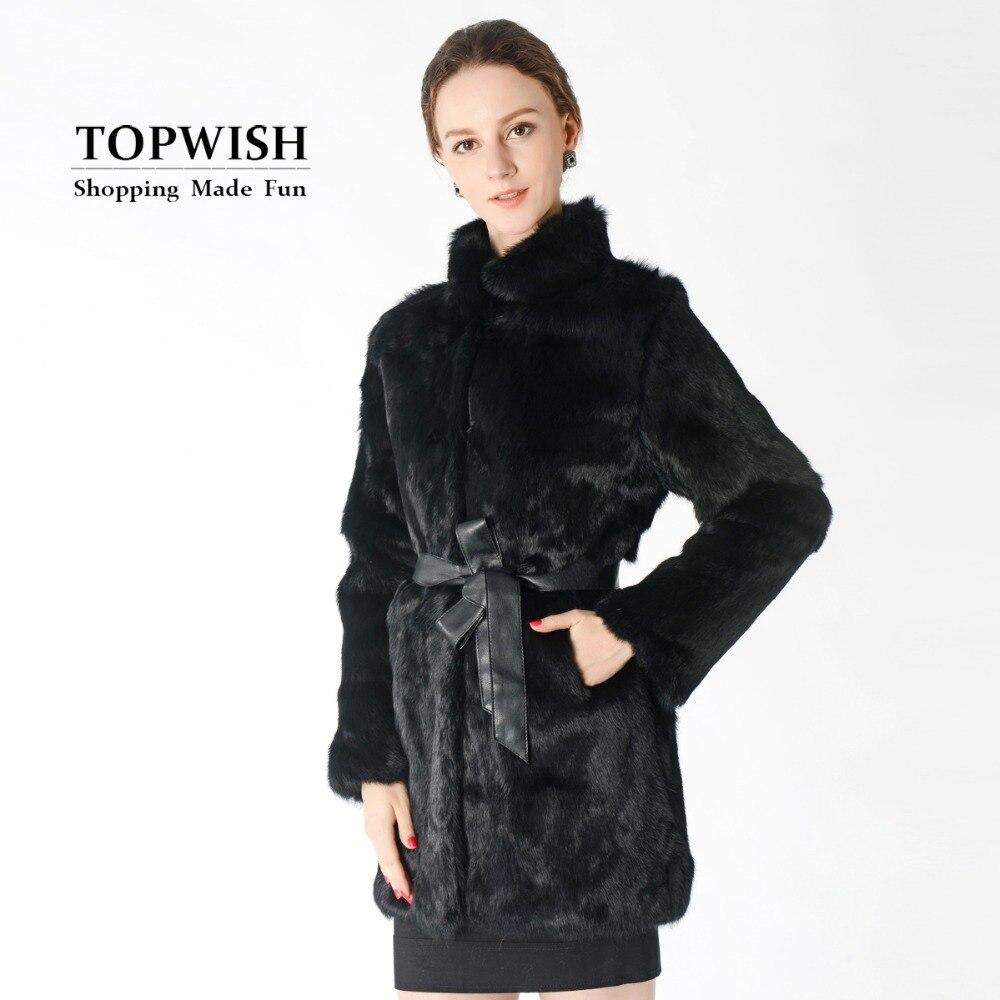 Free Shipping women s new fashion real natural rabbit fur coat jacket female long style overcoat