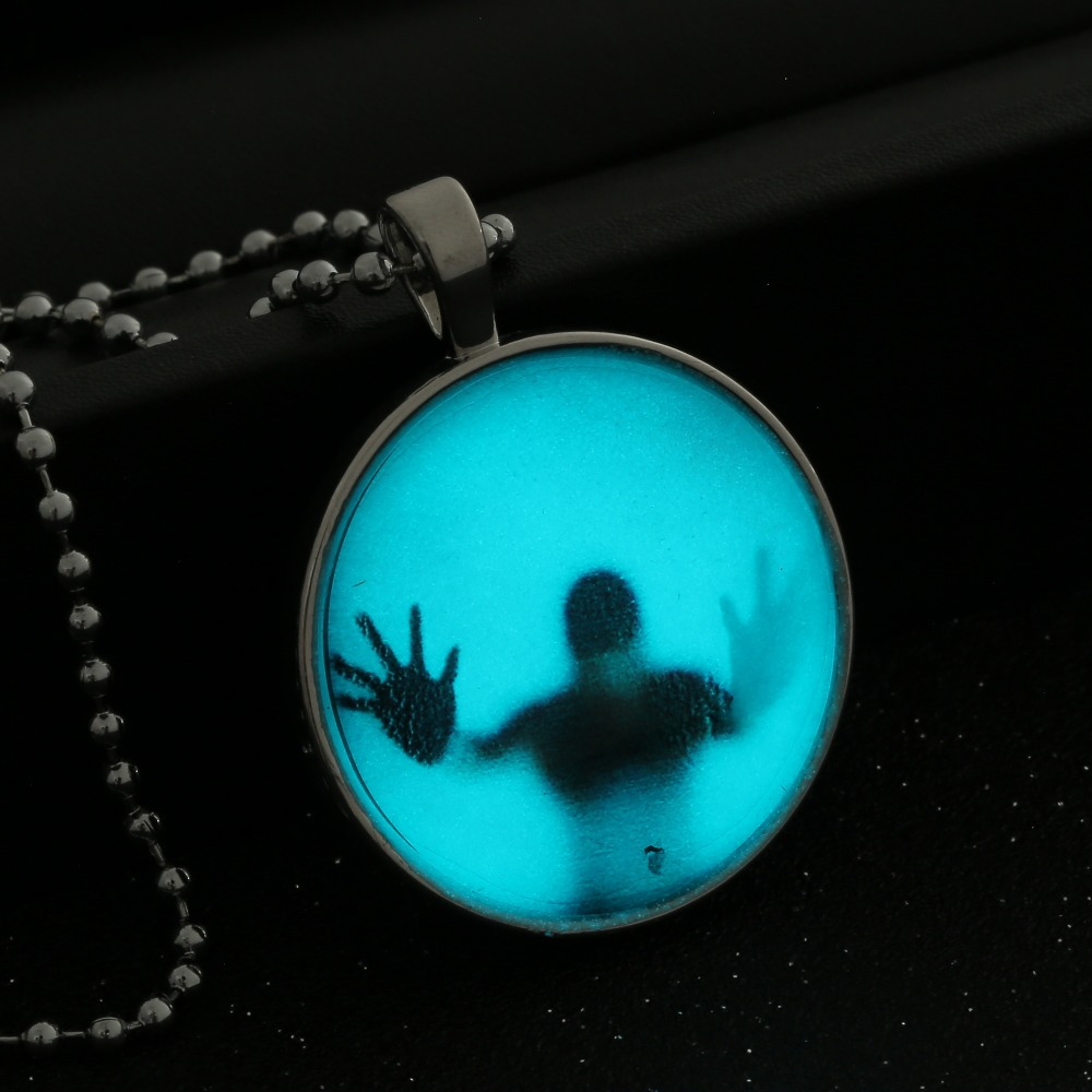 Glowing Shadow Pendant Necklace Steampunk Fire Glow in the Dark necklaces  Stainless Steel Chain necklace jewelry-in Pendant Necklaces from Jewelry ...