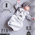 Cotton Newborn Baby Boys Girls Clothes Long Sleeve Romper Bodysuit Sleeping Bag Sleep Sack Outfit Grey