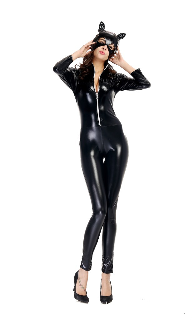 Free PP! Sexy Ladies Cat Leather Cosplay Fancy Dress Catwoman Costume PVC Suit