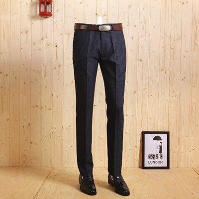 Высококачественный мужской темно-синий Тонкий деловой, Свадебный, для жениха, костюмы длинные штаны, Умные повседневные штаны для молодых мужчин в Корейском стиле - Цвет: deep blue