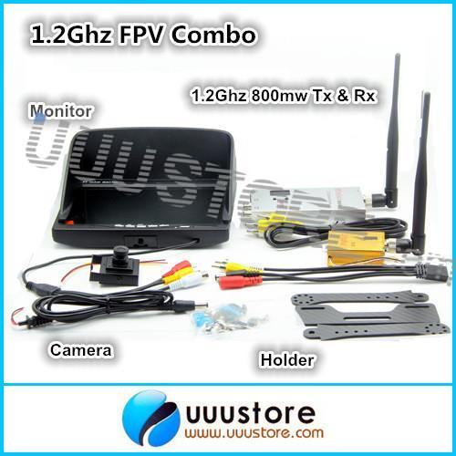 1.2Ghz FPV Combo 800mw Video Transmitter Receiver + 800x480 Monitor + 700TVL Camera + Carbon Fiber Holder More Than 3000m wireless audio video system 5 8ghz fpv 600mw transmitter 48ch receiver 800x480 monitor 800tvl camera remote control toys