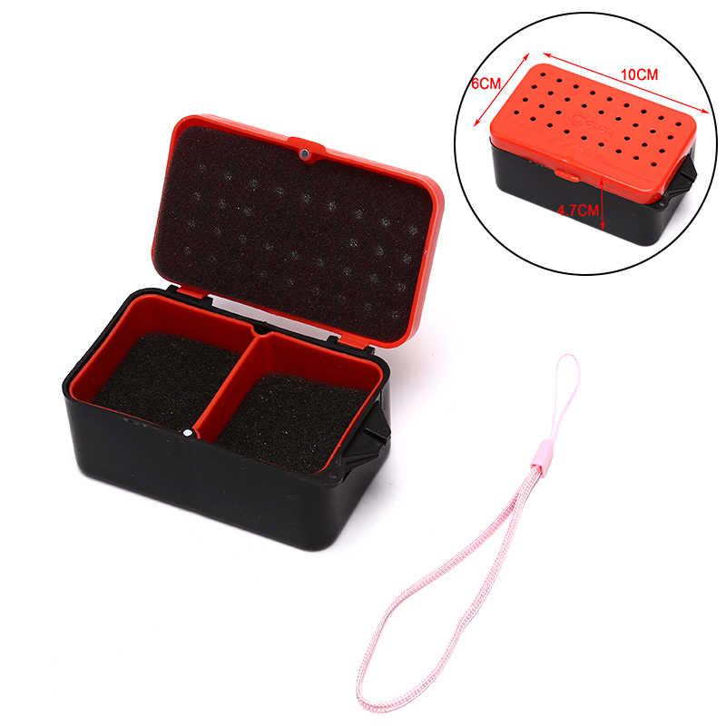 Multifonctionnel 2 compartiments boîte de pêche en plastique ver de terre appât à ver leurre mouche carpe matériel de pêche boîte accessoires