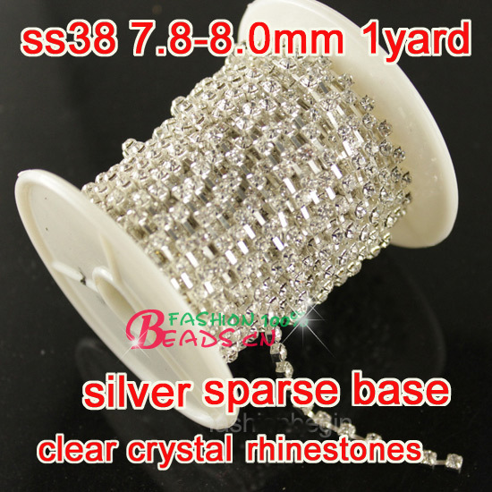 Strass beker ketting 1 yard ss38 Kristalhelder strass Zilveren voet - Kunsten, ambachten en naaien
