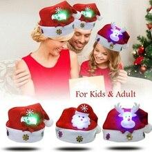 Christmas Hat LED Light Cartoon Santa Claus/Elk/Snowman Xmas Cap for Adult Kids L666