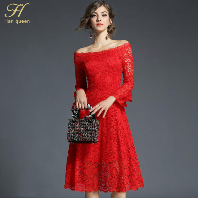 H Han Queen 2018 Fashion Women s Sexy Dress Hollow Out Elegant Slash Neck  Long Vestido Casual d8c56c4a1