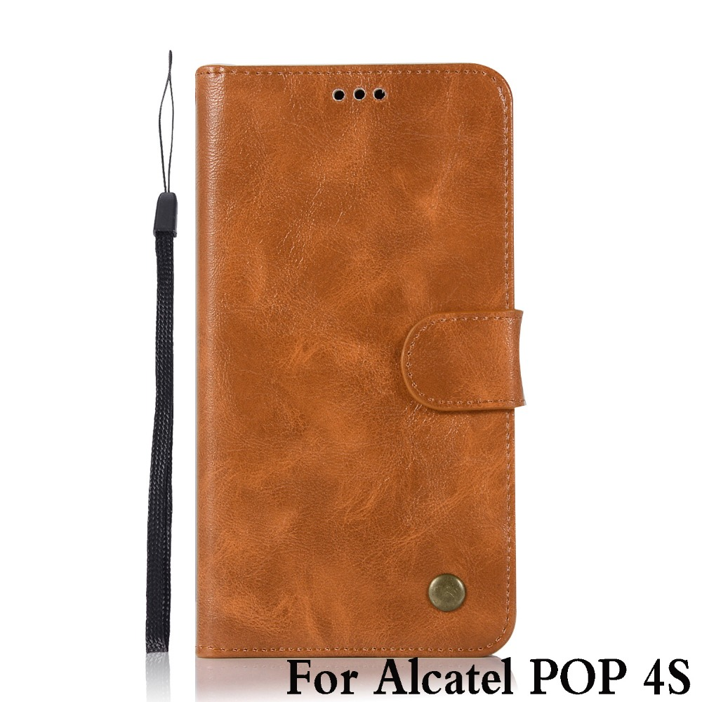 Learned For Alcatel Pop 4s Case Leather Silicone Vintage Stand Flip Genuine Phone Cases For Alcatel Pop 4s Pop4s 5095k Cover Funda 5.5 High Quality And Low Overhead Phone Bags & Cases