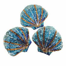 6pc 12x10cm Fan Shell Embroidered Patch Sequin Beaded Applique Scallop Patches For Clothing Jeans Bags Appliques Parches AC1094 frilled neck scallop hem applique embroidered top