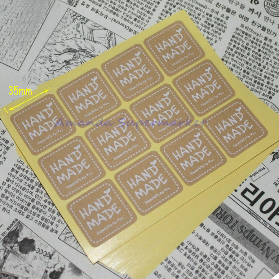 Square White Hand Made Stickers Kraft Label Sticker 180pcs//lot 3.5cm