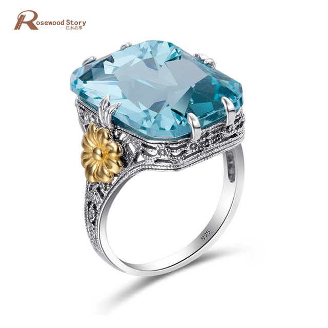 Fashion 925 Sterling Silver Rings Gold Color Flower Sky Blue Crystal Engagement