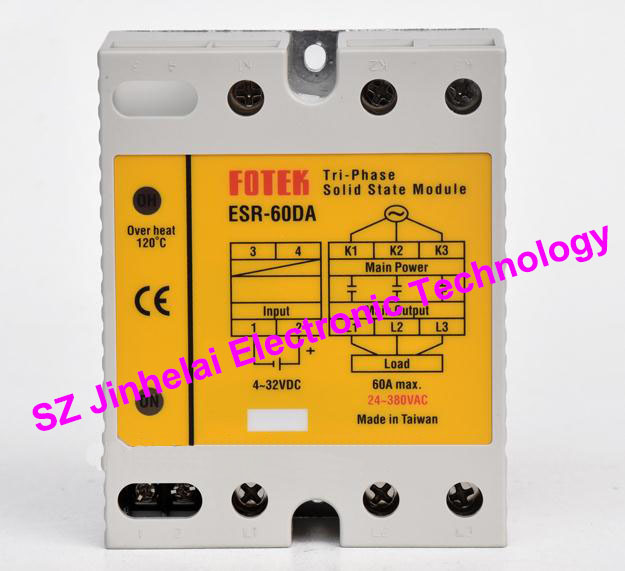 FOTEK 3-Phase Solid state module ESR-60DA, ESR-60DA-H Authentic original 60A esr 60da new and original fotek ssr solid state module 3 phase solid state relay