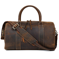 Handmade Vintage Men Real Leather Travel Shoulder Bag Cowhide Suitcase Fashion Trip Tote 30704
