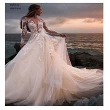 Женское свадебное платье со шлейфом кружевное длинное с одним