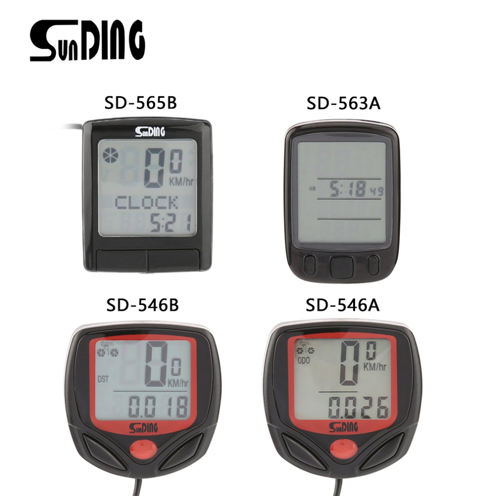 SUNDING SD Multifunctional Bicycle Computer Wired Odometer Stopwatch Waterproof Mini Digital LCD Speedometer Tracker