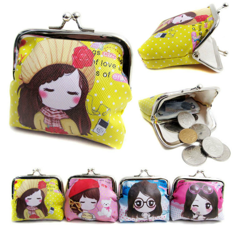 Cute Girl Pattern Coin Purse Pu Leather Women Hasp Wallet Mini Pouch Case Clutch Key Change Card Bag Burse Kids Gift 2015 new arrival kids rabbit animal pattern wallet children baby purse women girl coin bag key pouch for birthday gift