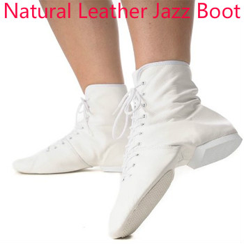 Adults Dance Sneakers Jazz Dance Boots Lace-up Dancing Shoes Gym Yoga Fitness Karate Shoes White Leather Practice Boot