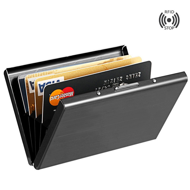 Rfid Black Stainless Steel Metal Card Holder Women Men Cowhide Credit Card Cover Business Holders Organizer Purse Coin Wallet