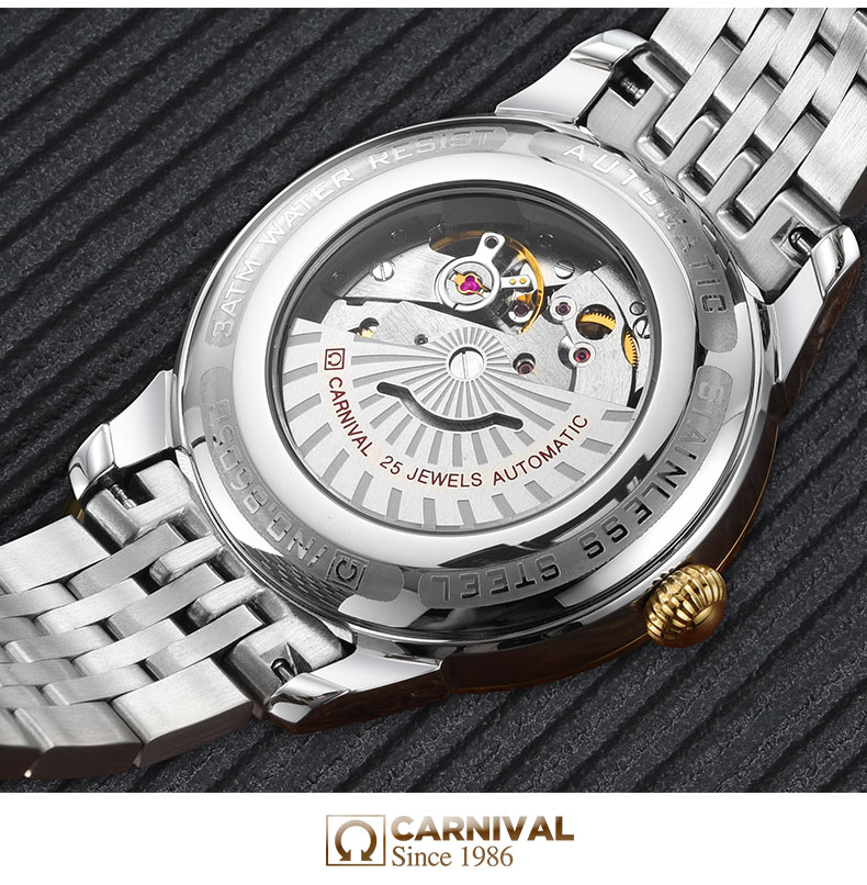 Carnival Men Automatic Watch Brief With Rhinestone Date Luxury Mechanical Watch Simple Business Watch - 4