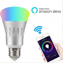 Aluminum E27 LED Light Bulb 7W Music Playing Intelligent WiFi Cellphone Control Lamp RGBW Multicolor Bluetooth Speaker GentelWay