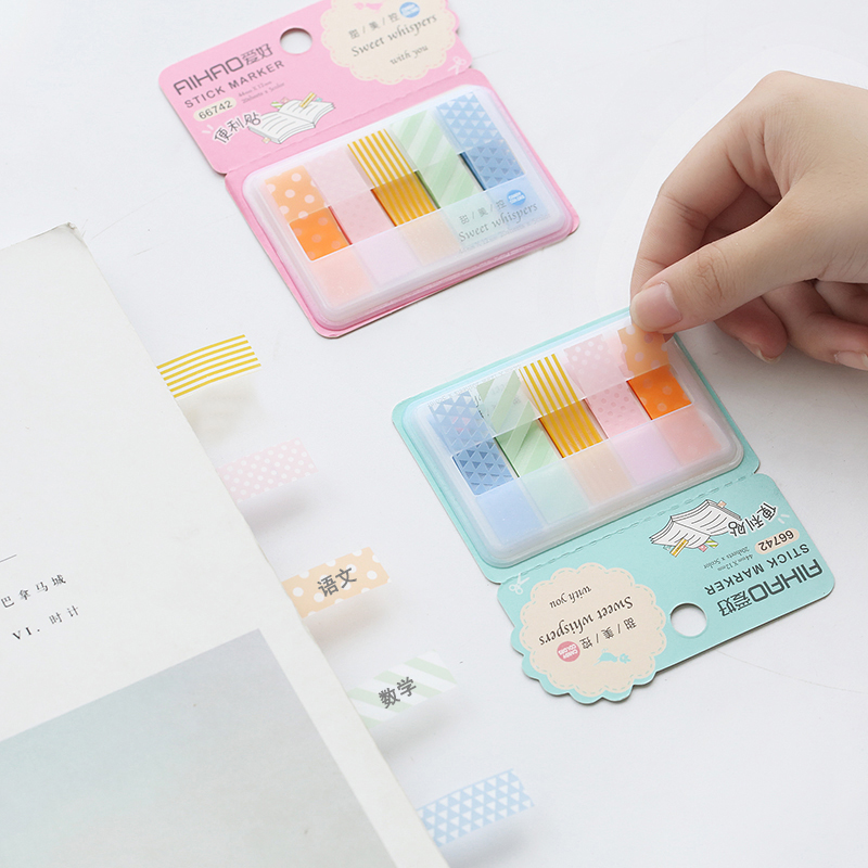 Aihao Rainbow Candy Colored Stick Markers Book Page Index Flag Sticky Notes Bookmark Office School Supplies Stationery
