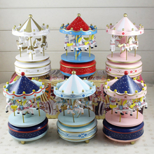 Candice guo wooden toy wood music box carrousel horse Merry go round whirligig game colorful galloper