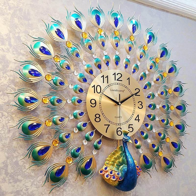 3D Peacock Wall Clock Europe Decor Wall Watch Home Living Room Bedroom Mute Clock Wall Modern