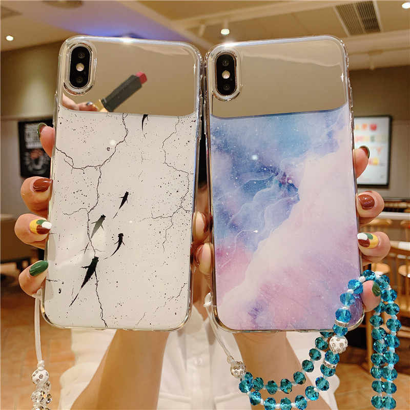 Marmer Spiegel Telefoon Geval Voor OPPO Realme 1 2 3 Pro C2 A1k X K3 Reno 5G Reno- Z Cases Lanyard Soft Silicone cover Coque