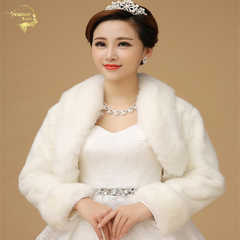 Bolero Women Coat Stoles Wedding-Jacket Bridal-Capes Faux-Fur Long-Sleeve Winter New