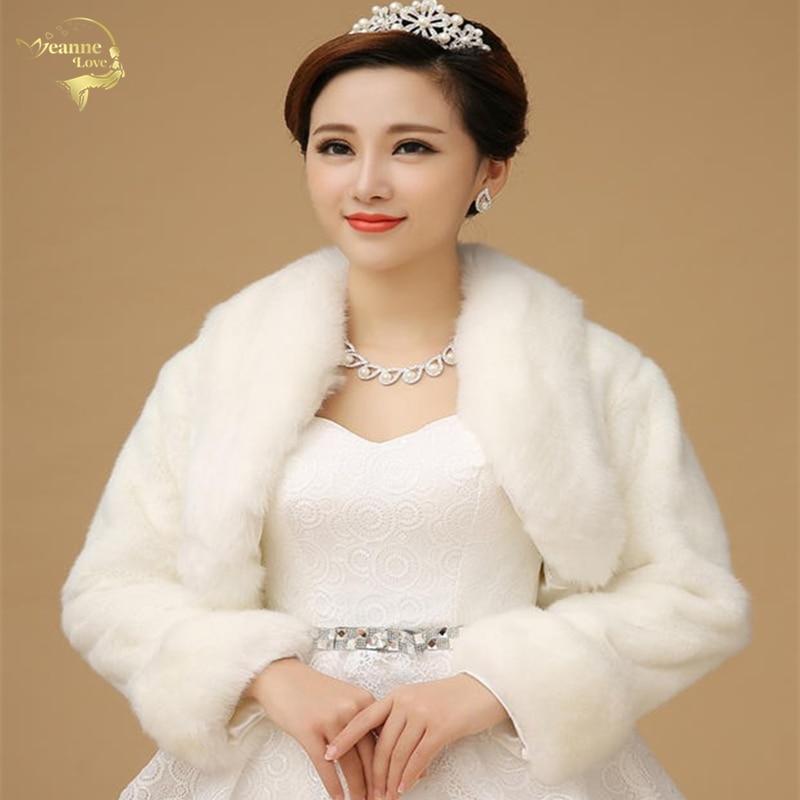 New Bolero Women Faux Fur Stoles Long Sleeve High Quality Fur Bolero Coat Bridal