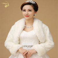 2015 Hot Sale Ivory Color Sleeveless High Quality Faux Fur Boleros Coat Wedding Jacket Bridal Jackets