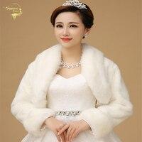 2015 Hot Sale Ivory Color Sleeveless High Quality Faux Fur Boleros Coat Wedding Jacket Bridal Jackets