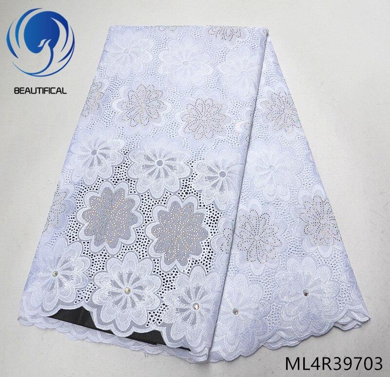 Beaux tissus en dentelle de coton blanc nouveauté tissus nigérians en dentelle suisse avec pierres 5 mètres de tissu en dentelle de coton sec ML4R397