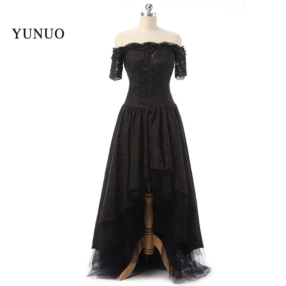 2019 Black Prom Dresses Front Short Long Back Asymmeetrical Kaftan Long Dubai Dres Elegant vestidos de festa Real Custom x12233