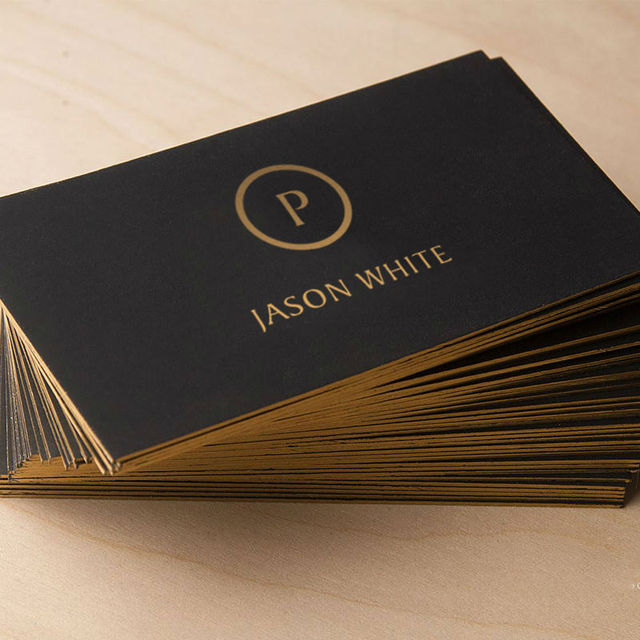 Customized Business Card Black Gold High Quality With Color Edge