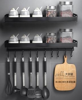 Black Wall Mounted Kitchen Racks with Hooks Space Aluminum Storage Shelf Kitchen Appliances Spice Rack Kitchen Rack Organizer 2