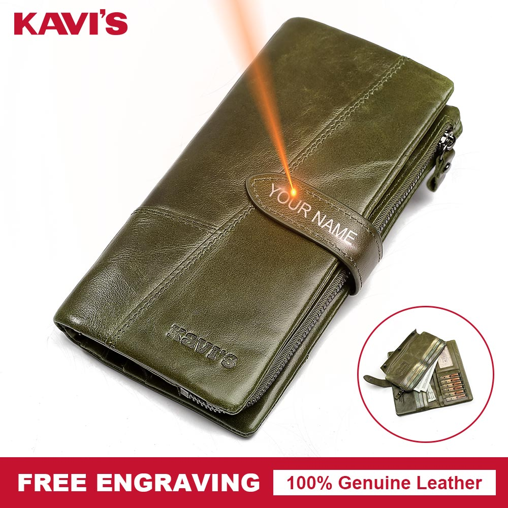 KAVIS Free Engraved Name Genuine Leather Women Wallet Purse Coin Female Portomonee Walet Lady Long Handy Money Card Holder