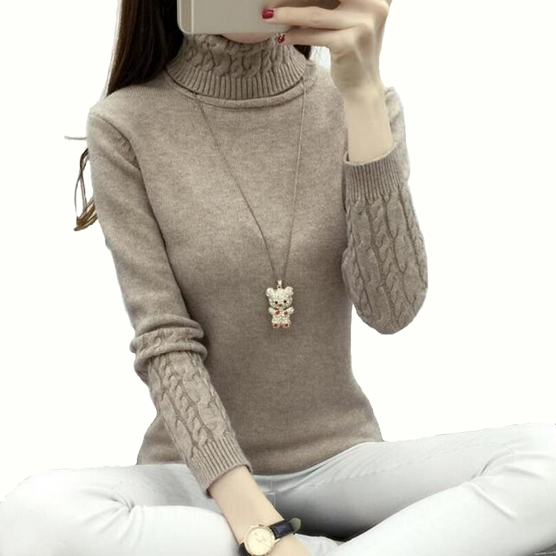 Sweater Women Autumn Winter Chunky Cable Full Sleeve High Neck Jumper  Pullovers Fashion New Warm Thicken Turtleneck Sweater 3994c3d89