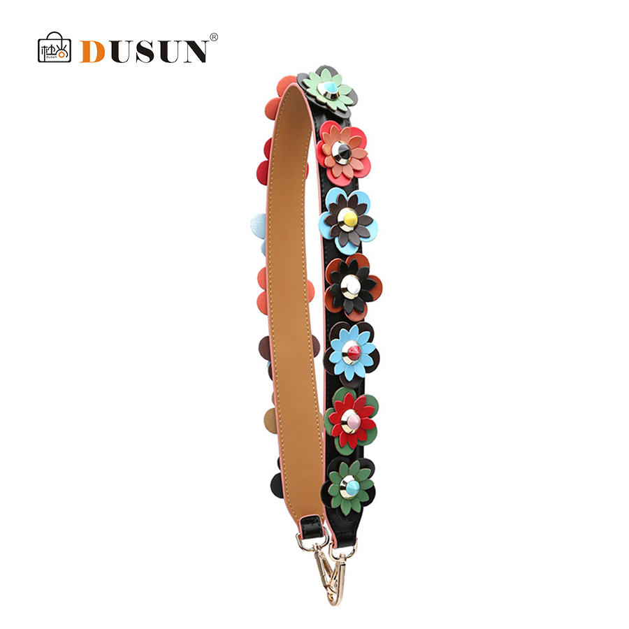 DUSUN Multicolor Flower Shoulder Strap 90CM Fashion Style Women Girls Bag Handle Strap Belt Shoulder Bag Parts Chain Accessories