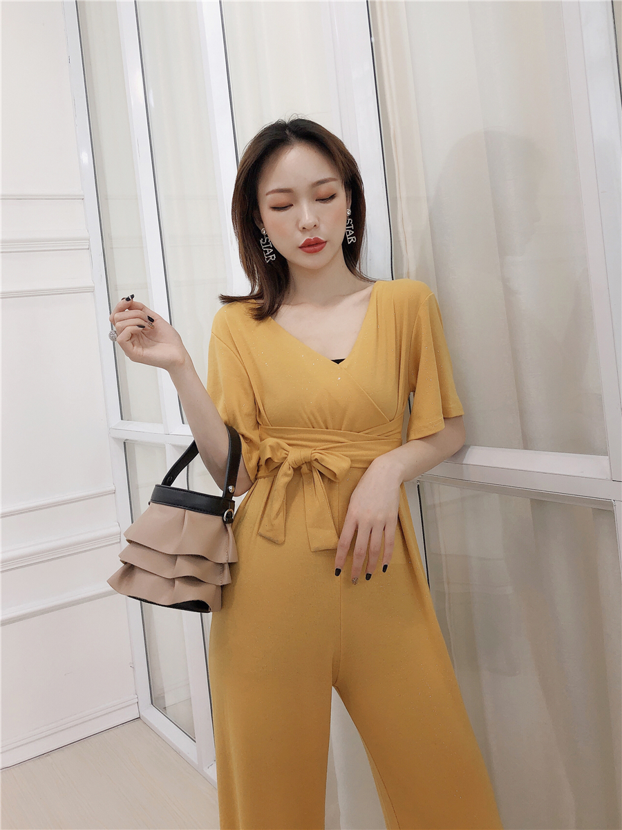 LISM Elegant Short Sleeve Lace Up Ladies Jumpsuits 2019 High Waist Slim Summer Loose Korean Romper Wide Leg Sequin Jumpsuit 4