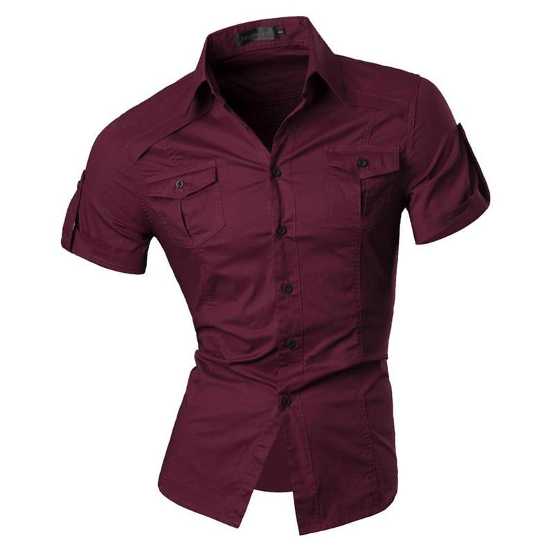 jeansian Men's Summer Short Sleeve Casual Dress Shirts Fashion Stylish 8360 6