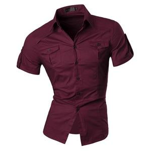 Image 5 - قميص جينز رجالي صيفي قصير الأكمام فستان كاجوال موضة أنيقة 8360