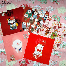 New Year festive red envelope cloth / cotton sail hand dyed decorative painting 15*15cm