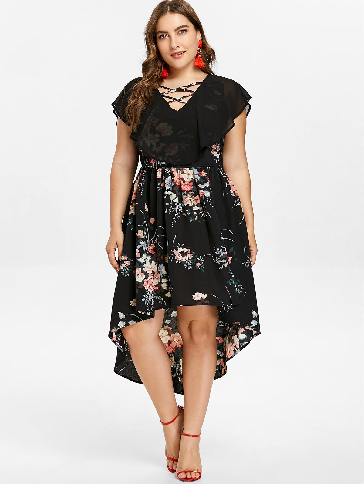 Neckline  V-Neck Sleeve Length  Short Sleeves Pattern Type  Floral With  Belt  No Season  Summer Weight  0.3700kg. Package Contents  1 x Dress 67e331485