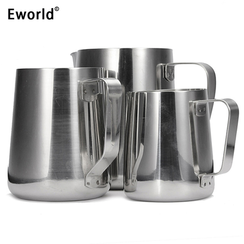 eworld stainless steel milk frothing jug espresso coffee mug pitcher barista craft coffee. Black Bedroom Furniture Sets. Home Design Ideas