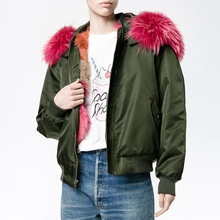 Coat with Pink Fox Fur Collar Thermal Women Jacket 2017 Real Fox Fur Liner Parka with Hood Short Women Army Zipper Jacket