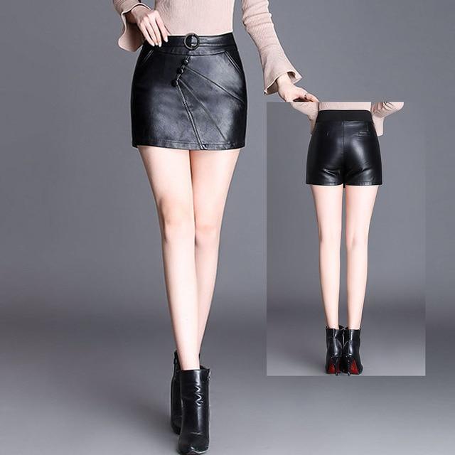 43753774e € 23.59 |4XL Plus tamaño mujeres de cintura alta, Falda pantalón Micro Mini  Falda Culotte Faldas Cortas Falda de Cuero de la PU minifalda de Cuero ...