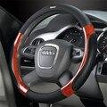 For A4L A6 Q3 Q5 Q7 Cadillac SRXXTS  15 Inch 38 cm Genuine Leather Wood Grain Car Steering Wheel Cover lzh