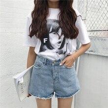 Mihoshop Ulzzang Корейский Корея Женщины Мода Одежда chic высокая талия джинсовые шорты свободные шорты широкие брюки ноги